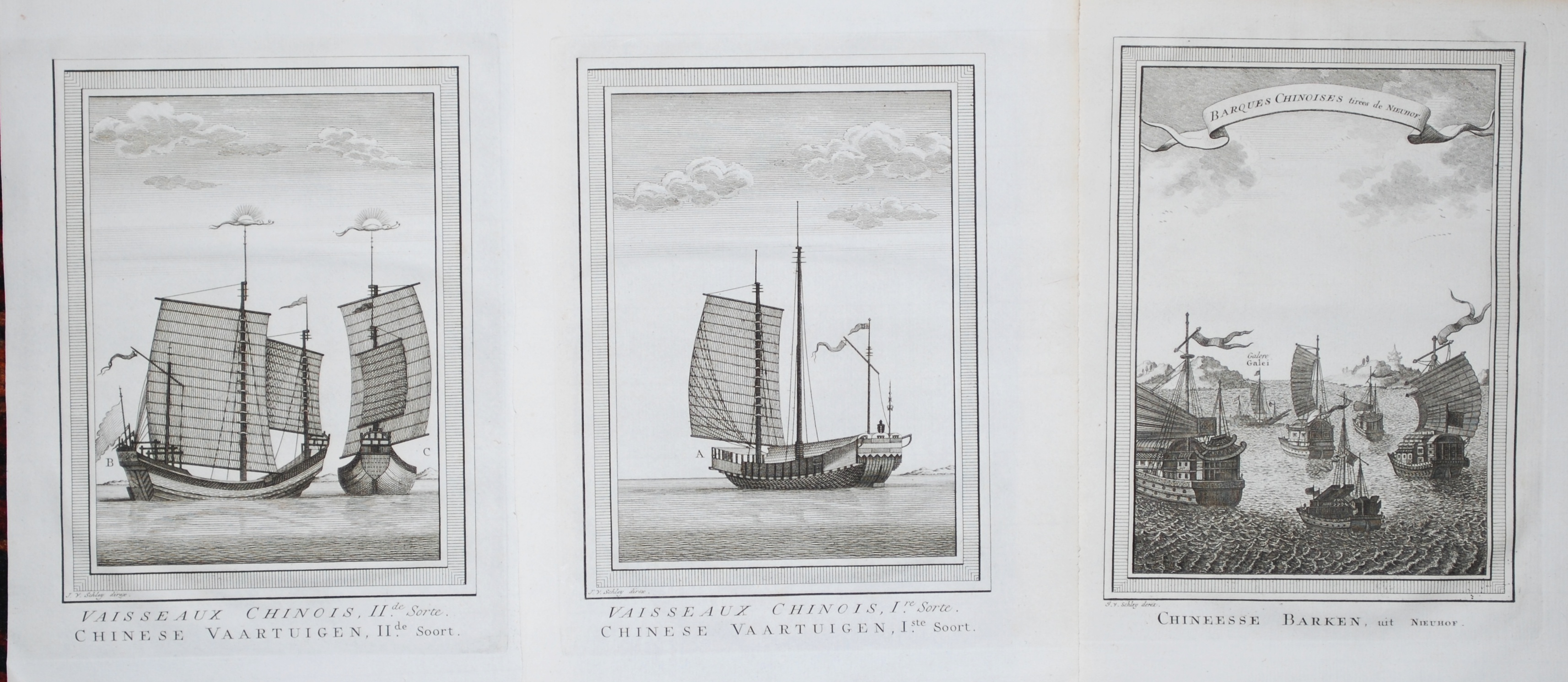Vaisseaux / Barques Chinois (3 engravings)